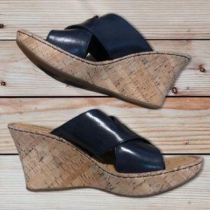 Born brand platform black leather sandals size 10